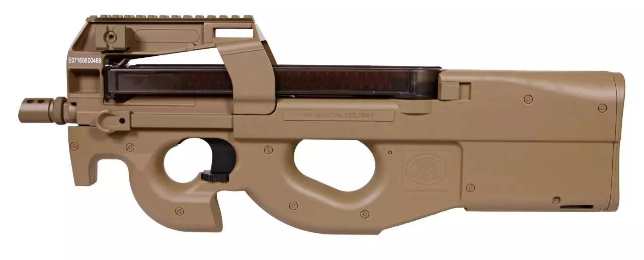 Cybergun - Pistolet mitrailleur FN P90 AEG avec Batterie et Chargeur de Batterie- FDE (1.4 joules)