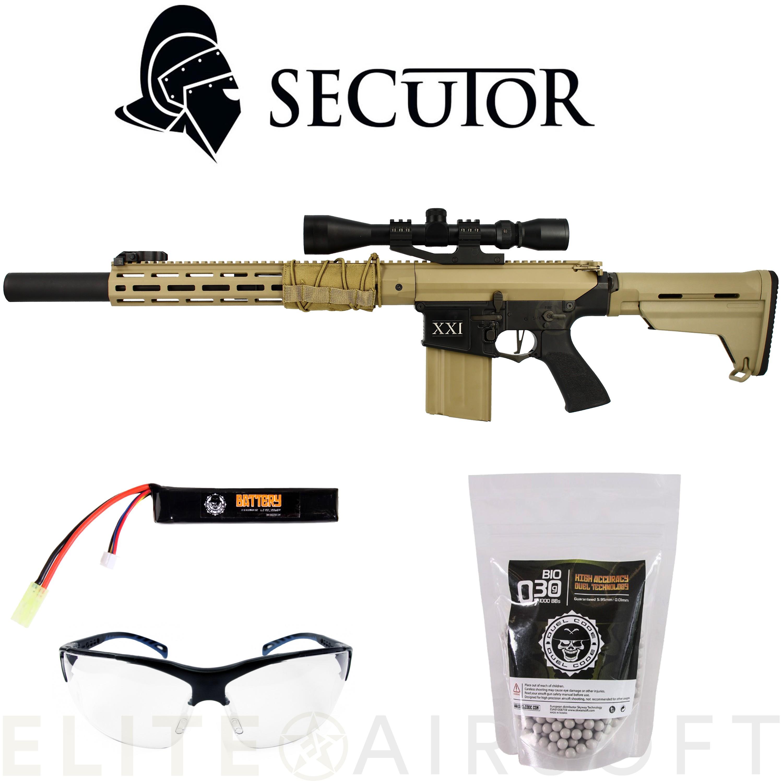Secutor - Fusil DMR Rapax XXI M5 en PACK - AEG - Noir et TAN (1.8 Joule)