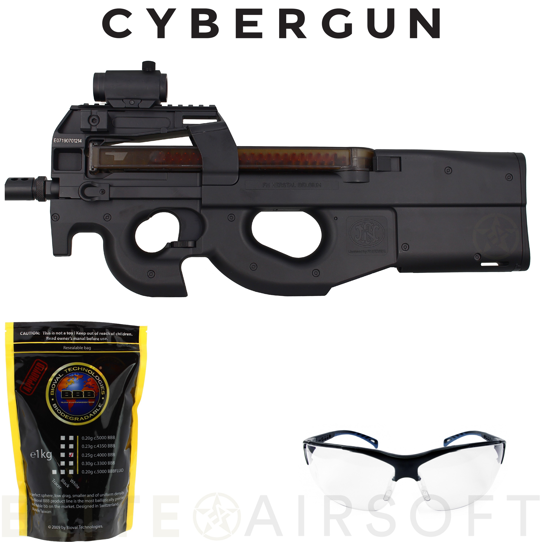 Cybergun - Pistolet mitrailleur FN P90 AEG en pack - Noir (1.4 joules)