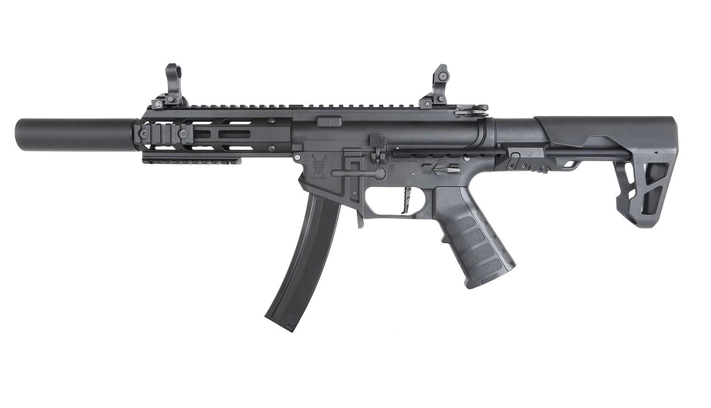 King Arms - Carabine PDW9 SBR SD - AEG - Noir  (1.2 Joule)