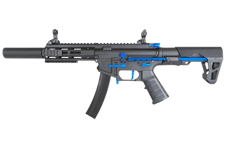 King Arms - Carabine PDW9 SBR SD BB Edition limitée - AEG - Noir et bleu  (1.2 Joule)